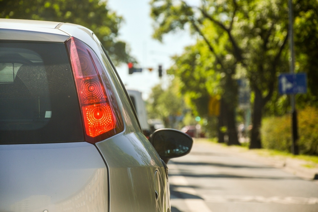 Car with comprehensive auto insurance coverage on Tampa road